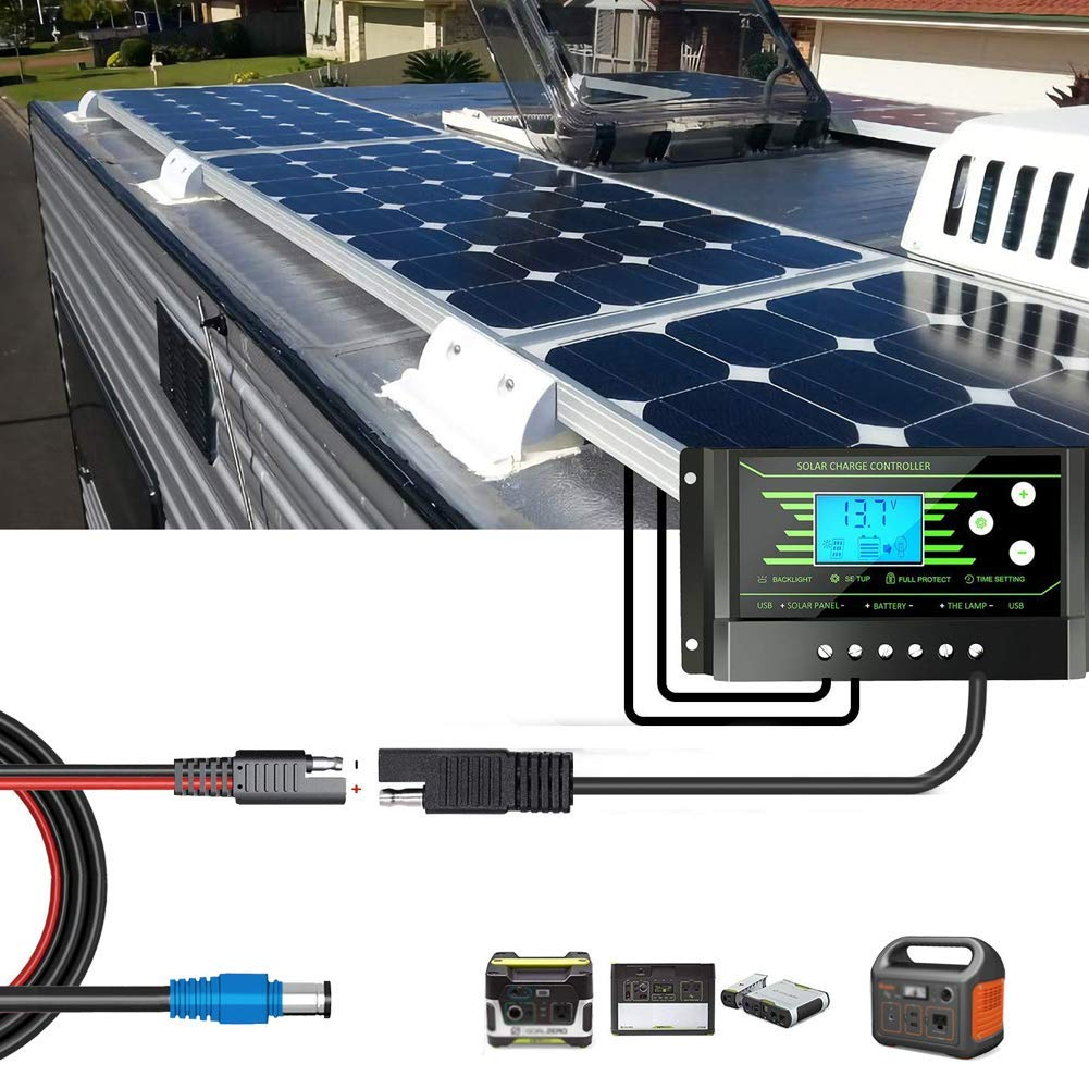 JoinWin MFG DC 8mm Male Terminal to SAE Adapter Cable 1.2M Length SAE-8MM for Portable Powers and Solar Panel Solar Charge Controller