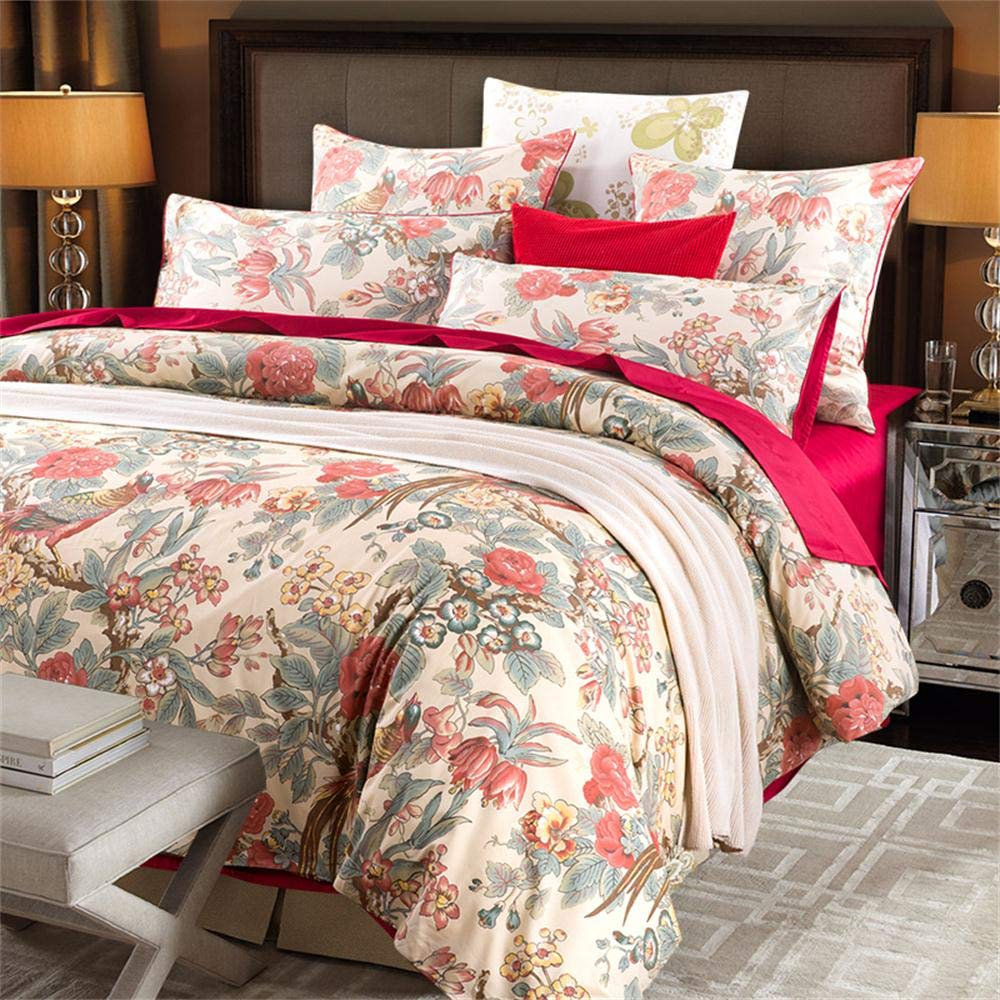 Softta California King Bedding 3Pcs Duvet Covers Set Chic Chinoiserie Peacock Bird Floral and Leaves French Country Branches Vintage and Farmhouse 100% Egyptian Cotton 800 Thread Count Red