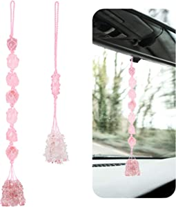 2 Pieces Natural Crystal Hanging Ornament Handmade Car Rear View Mirror Charm Hanging Accessories Witchy Room Decor Hanging Ornament for Good Luck Meditation Yoga Home Decor Feng Shui (Pink)