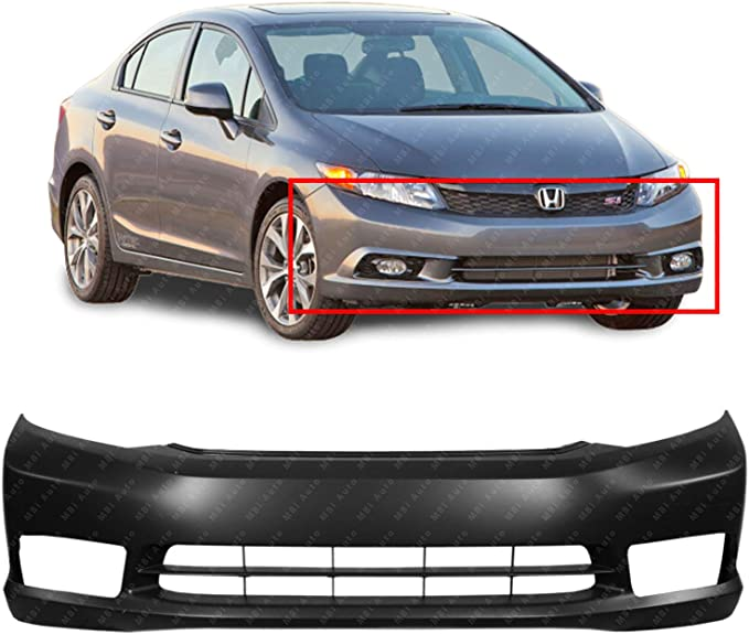 New Front Primed Bumper Cover With Fog Light Holes Fits Honda Civic HO1000281
