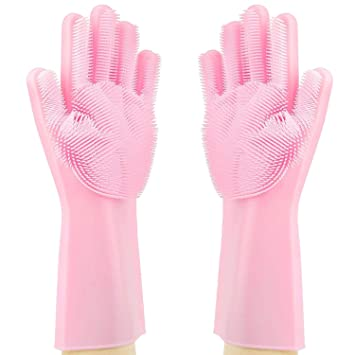 Supreme Silicone Dishwashing Gloves with Wash Scrubber - Kitchen Heat Resistant Rubber Glove for Cleaning,Pet Care