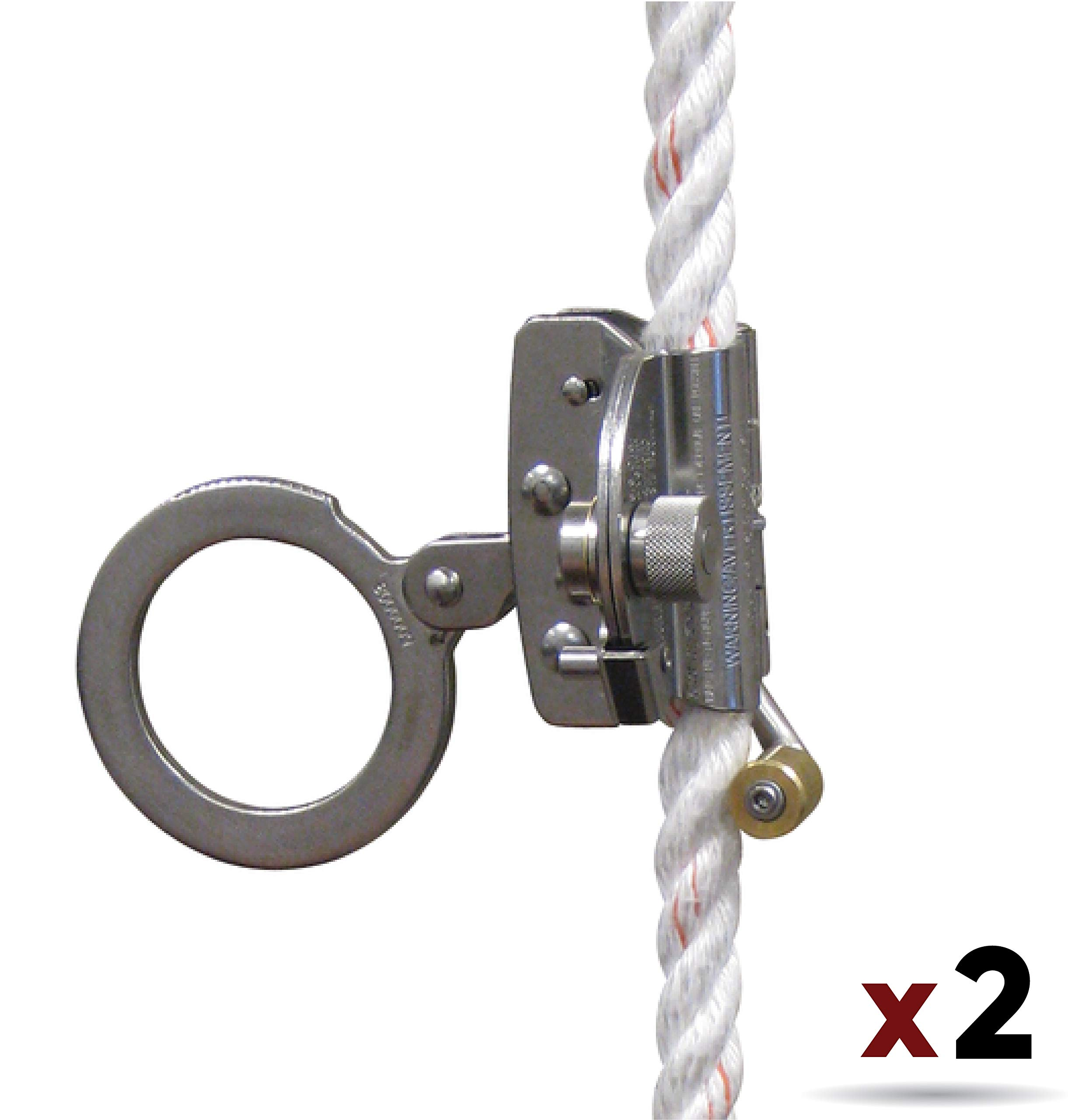3M Protecta 5000003 Rope Grab for 5/8'' Polyester/Polypropylene Rope, Silver (2 Pack)