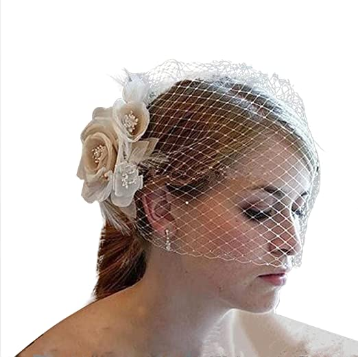 8045a6fa65a56 Image Unavailable. Image not available for. Color  Bridal Birdcage Veil  Champagne White Flowers Feather Wedding Netting ...
