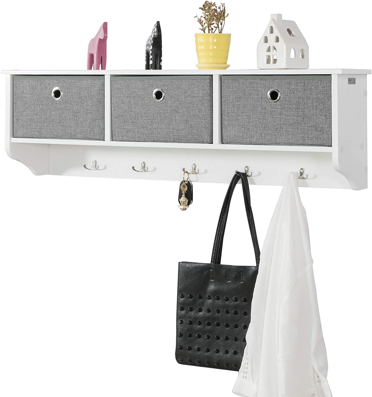 SoBuy® FRG282-W, Wall Coat Rack Wall Shelf Wall Storage Cabinet Unit with 3 Baskets 5 Hooks