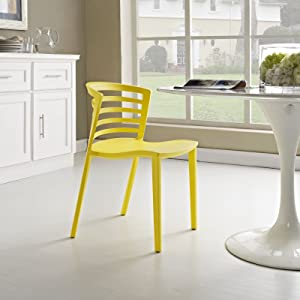 Modway Curvy Contemporary Modern Molded Plastic Kitchen and Dining Room Chair in Yellow - Stackable - Comes Fully Assembled
