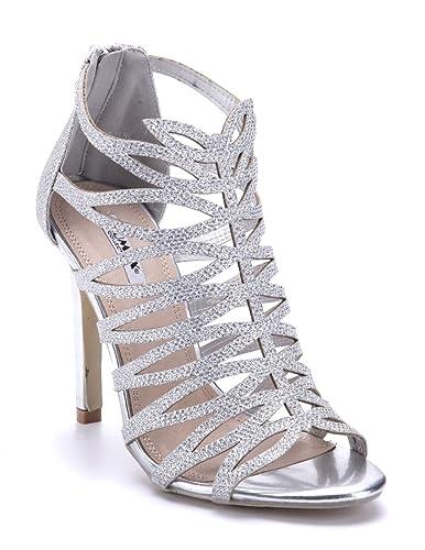 e77b0871eed544 Schuhtempel24 Damen Schuhe Sandaletten Sandalen Silber Stiletto Glitzer/Cut  Out 11 cm High Heels