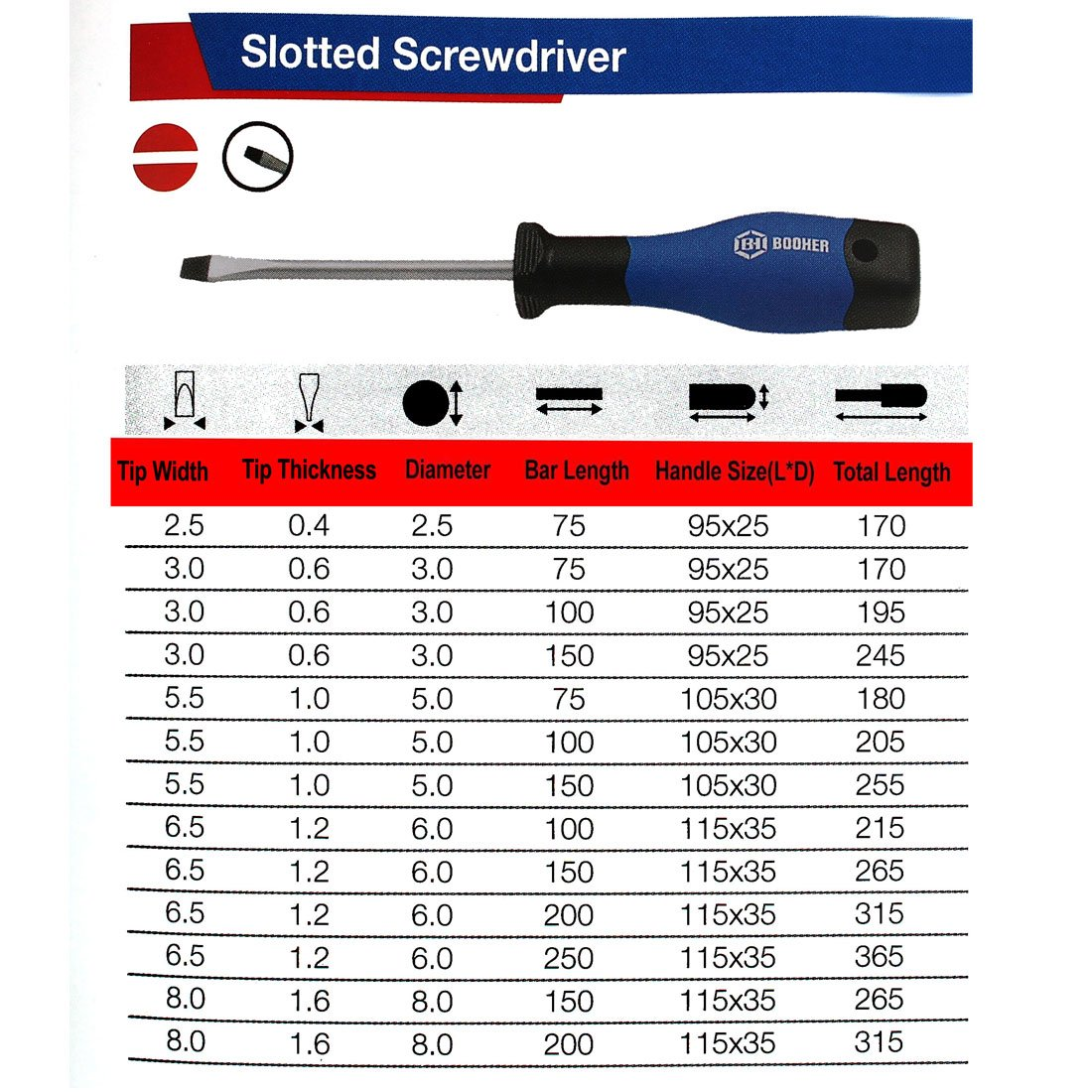 Sourcingmap BOOHER Authorized 3mm Tip Width 40mm Bar Flathead Slot Precision Screwdriver