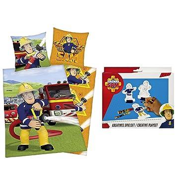Bettwäsche Feuerwehrmann Sam 80x80cm 135x200 Feuerwehr Spielset