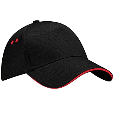 66c88e9b5660a Beechfield Unisex Ultimate 5 Panel Contrast Baseball Cap With Sandwich Peak    Headwear (One Size) (Black Classic Red)  Amazon.co.uk  Clothing