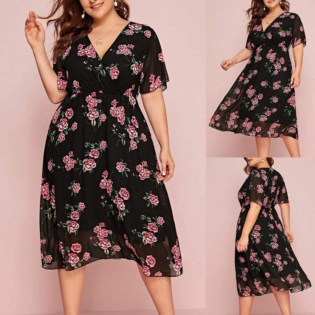 Vimoli Kleider Damen Plus Größe Sommer V-Ausschnitt Kleid Blumendruck Boho Sleeveless Party MaxiKleid Yd Schwarz