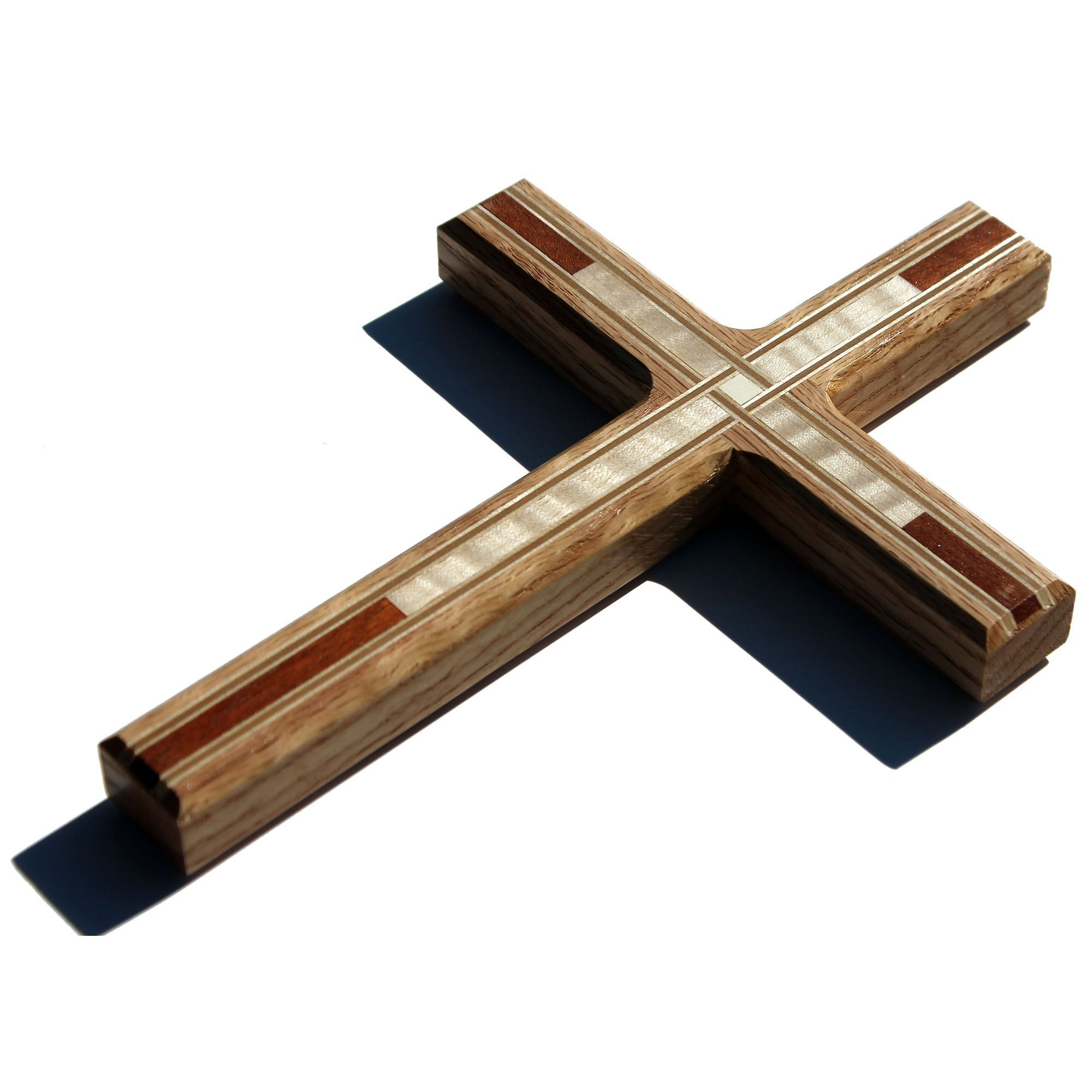 ''Limited Edition'' Decorative Wooden Wall Crosses: 8.5'' Tall Red Oak Wood Christian Cross - Made in the USA!