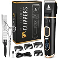 VOVO Dog Clippers Professional 3-Speed Low Noise Pet Grooming Kit Tools Rechargeable Cordless Electric Hair Clippers for Dogs Cats Pets 1