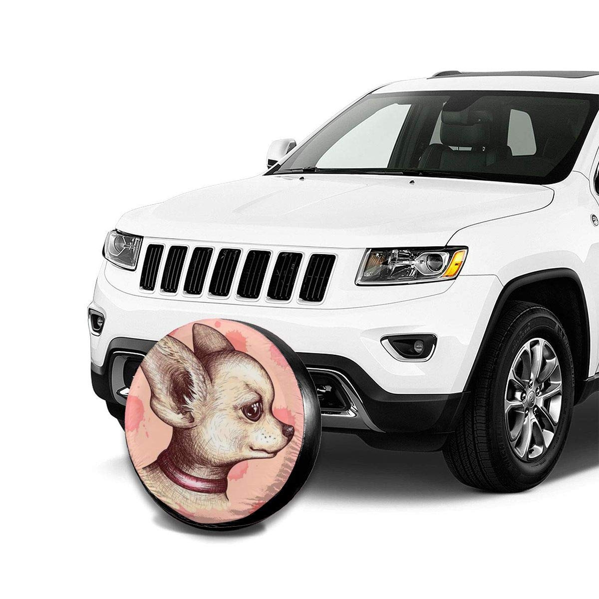 RV FPSMOUPD Tire Covers Pink Cute Dog Spare Tire Cover Waterproof Dust-Proof Universal Spare Wheel Tire Cover Fit for Jeep,Trailer SUV and Many Vehicle