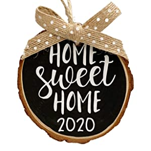 Home Sweet Home 2020 Keepsake Wood Slice Christmas Ornament (Gift Box Included) Black w/Burlap