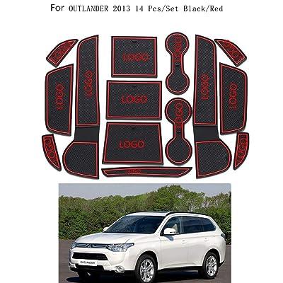 14pcs / Set Porte-gobelet Porte Rainure Boîte de Rangement antidérapante Pad Porte de Rechange Slot Mat pour Mitsubishi Outlander 2013 High-tech
