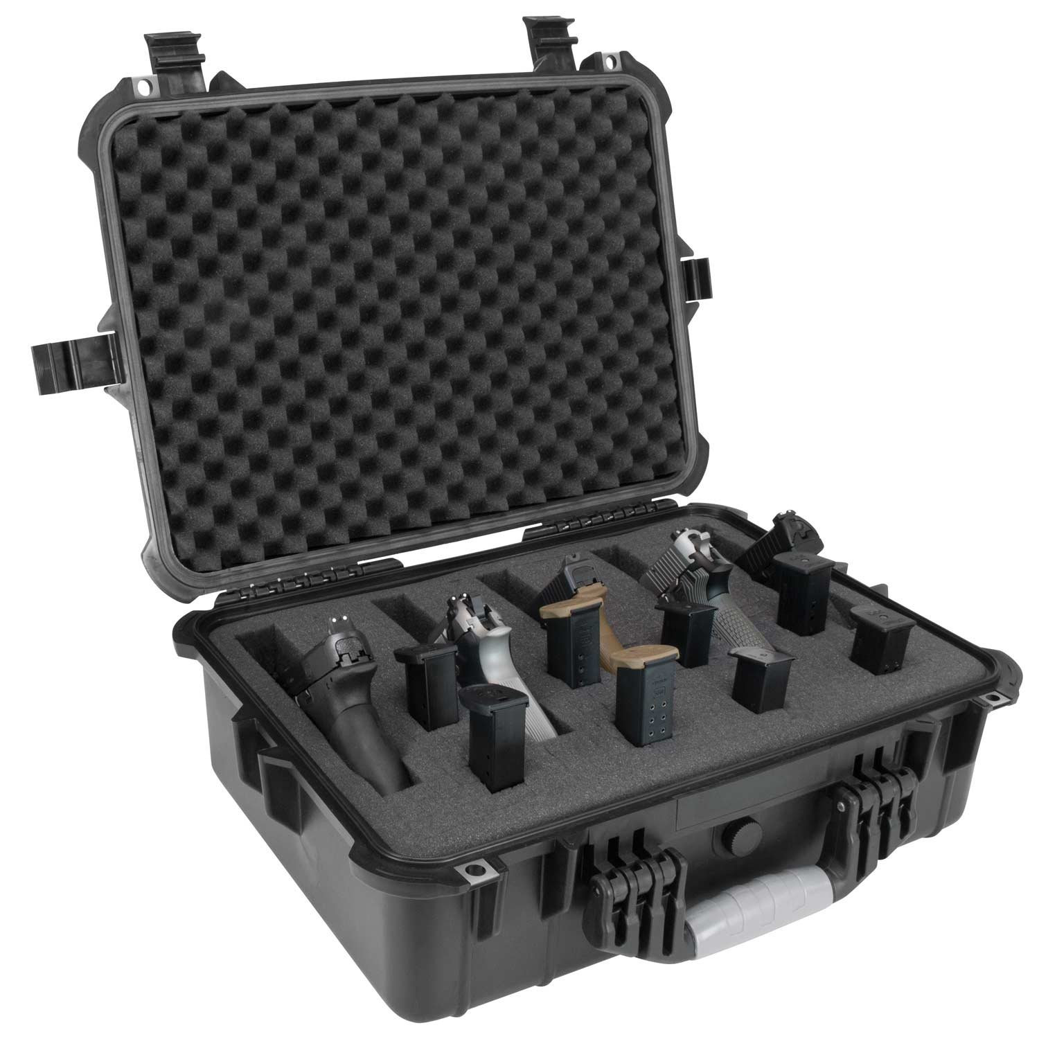 Elkton Outdoors Hard Gun Case: Fully Customizable Pistol Case: Holds 5 Handguns and 10 Magazines: Crush Resistant & Waterproof! by Elkton Outdoors (Image #4)