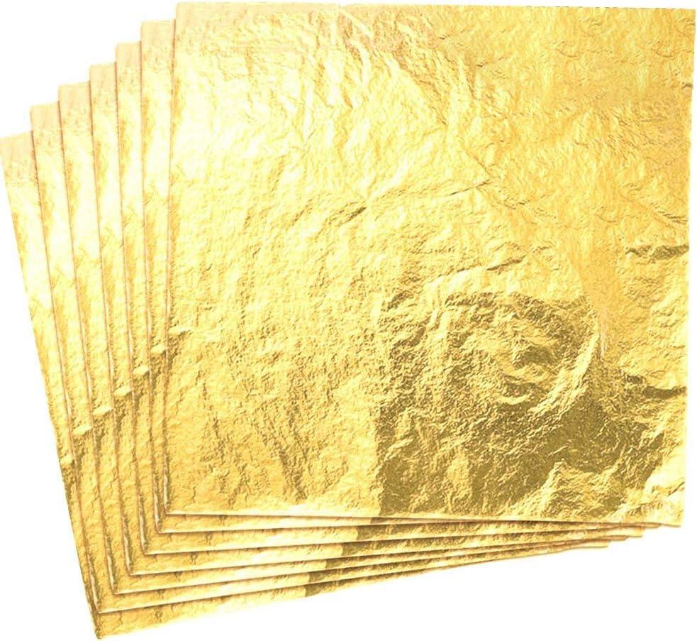 CZ Store Hoja de Oro - 100 Piezas  Hojas de 14cm ✮✮GARANTÍA DE POR VIDA✮✮- Material Dorado de Cobre para Artesanía, Decoración Dorada de Muebles, Guirnaldas, Fiestas - Brillo, Textura Suave