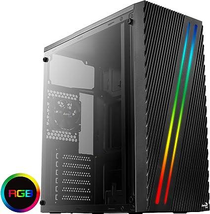 Aerocool STREAK, caja de PC ATX, RGB 18 modos, panel lateral ...