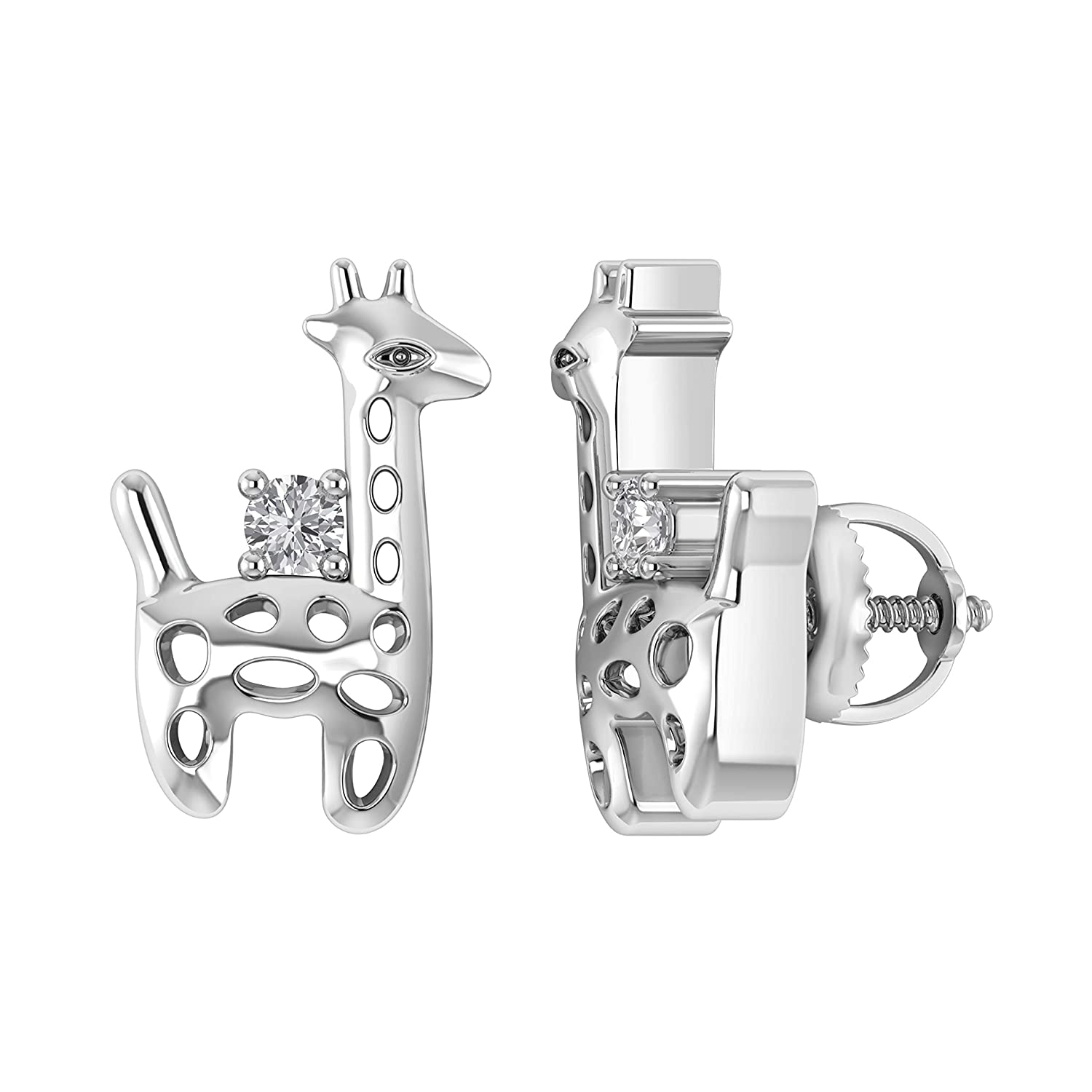 I1-I2//G-H 0.06 Ct Natural Diamond Baby Deer Stud Earrings With Screw Back in 925 Sterling Silver