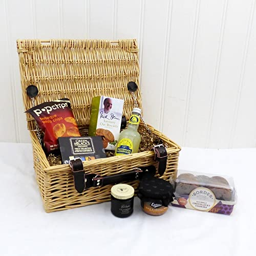 gents nibbles wicker gift basket hamper with 7 items gift ideas for dad him