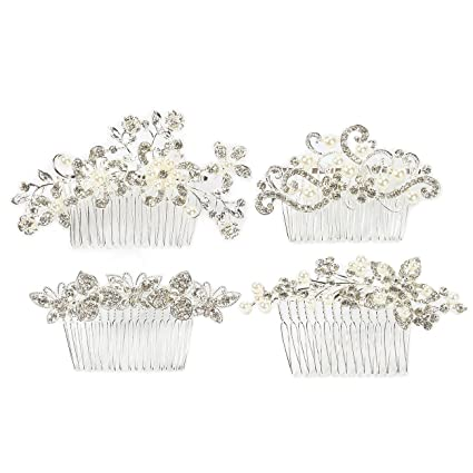 a99d1aabbd684 4-Pack Bridal Hair Comb Set - Decorative Rhinestone Wedding Combs for  Bridesmaids, Engagement Parties, Bridal Showers, Silver