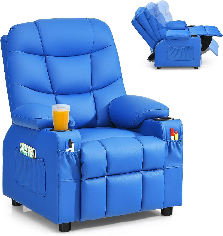 Costzon Best Adjustable Leather Lounge Kids Recliner Chair.