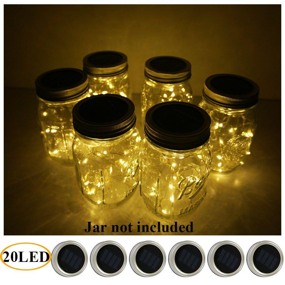 6 Pack Mason Jar Lights 20 LED Solar Warm White Fairy String Lights Lids Insert for Patio Yard Garden Party Wedding Christmas Decorative Lighting Fit for Regular Mouth Jars
