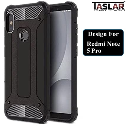 best loved 32ae5 24bcb Taslar Dual Layer Hybrid Armor Case Protector Back Cover for Xiaomi Redmi  Note 5 Pro (Black)