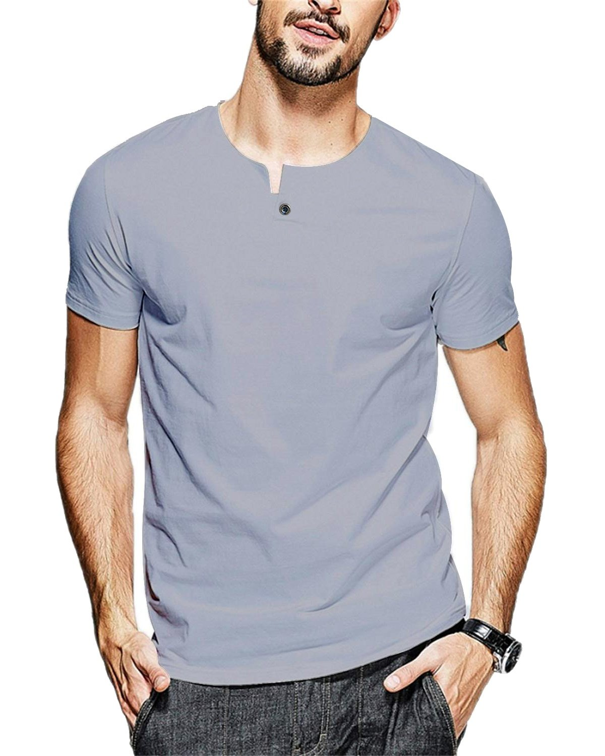 JNC 100% Cotton Mens Summer Casual Button Slim Fit Pure Color Short Sleeve Henley T-Shirts (Small, Grey)