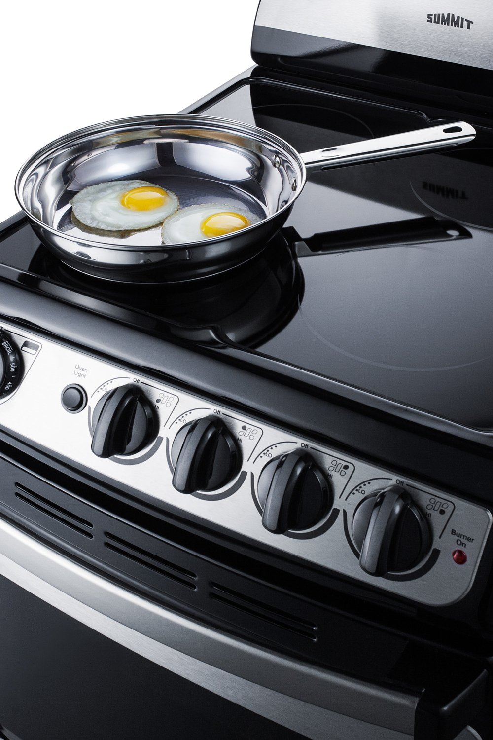 Summit FBA REX207SS White Pearl 20 Electric Range with Ceramic Glass Cooktop Stainless-Steel Exterior Large Oven Window