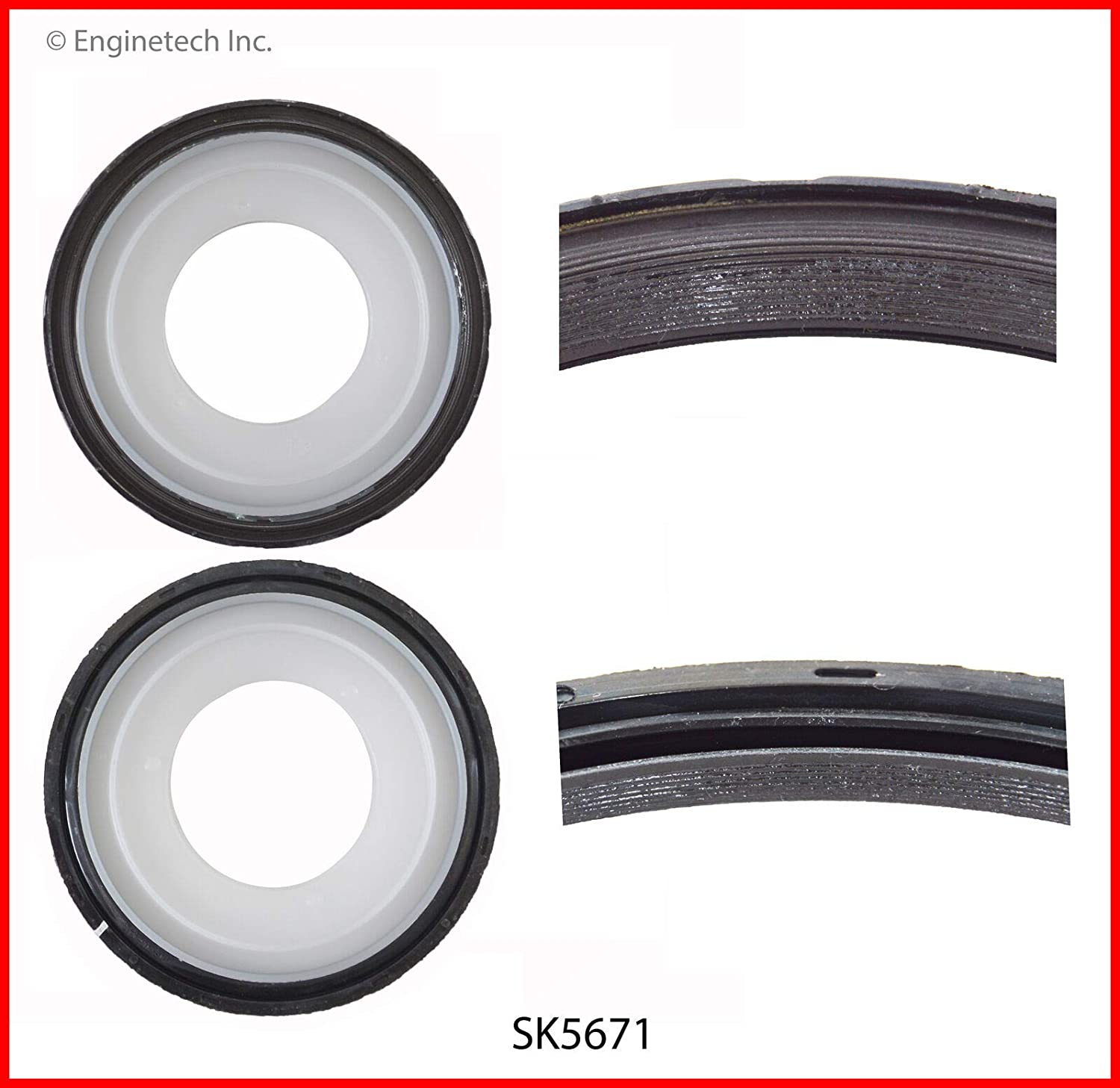 Enginetech SK5671 Seal R Main GM 4.8L 5.3L 6.0L WITH HOUSING GASKET