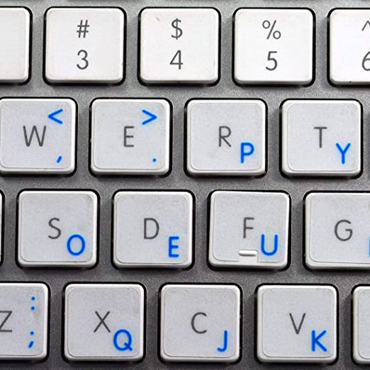 Apple Dvorak pegatinas para teclado con azul letras fondo ...