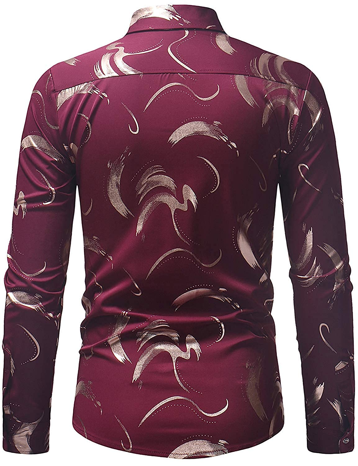 LYLIFE Mens Retro Oil Painting Rose Design Slim Fit Long Sleeve Casual Button