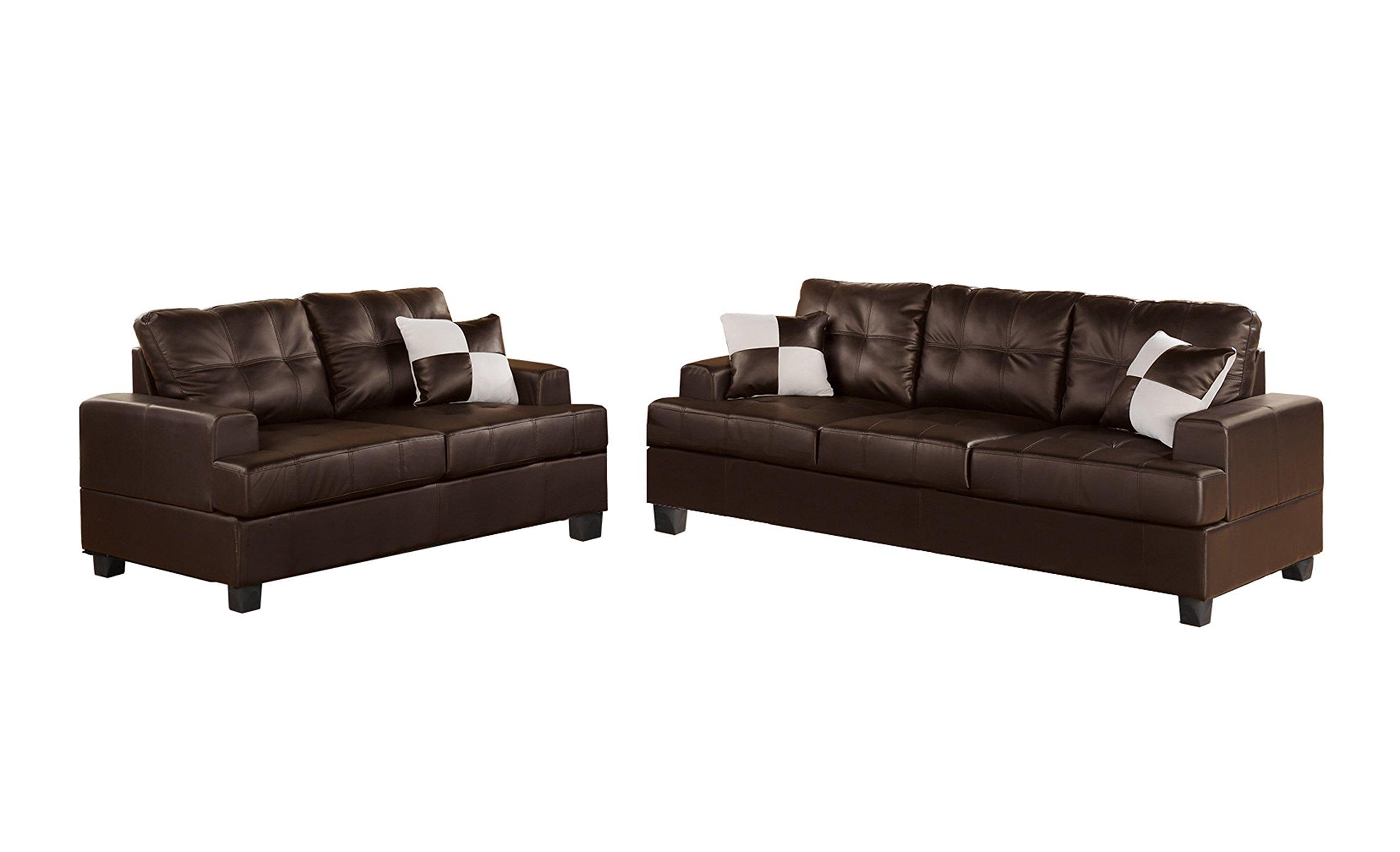 Poundex Bobkona Sherman Bonded Leather 2-Piece Sofa and Loveseat Set, Espresso by Poundex