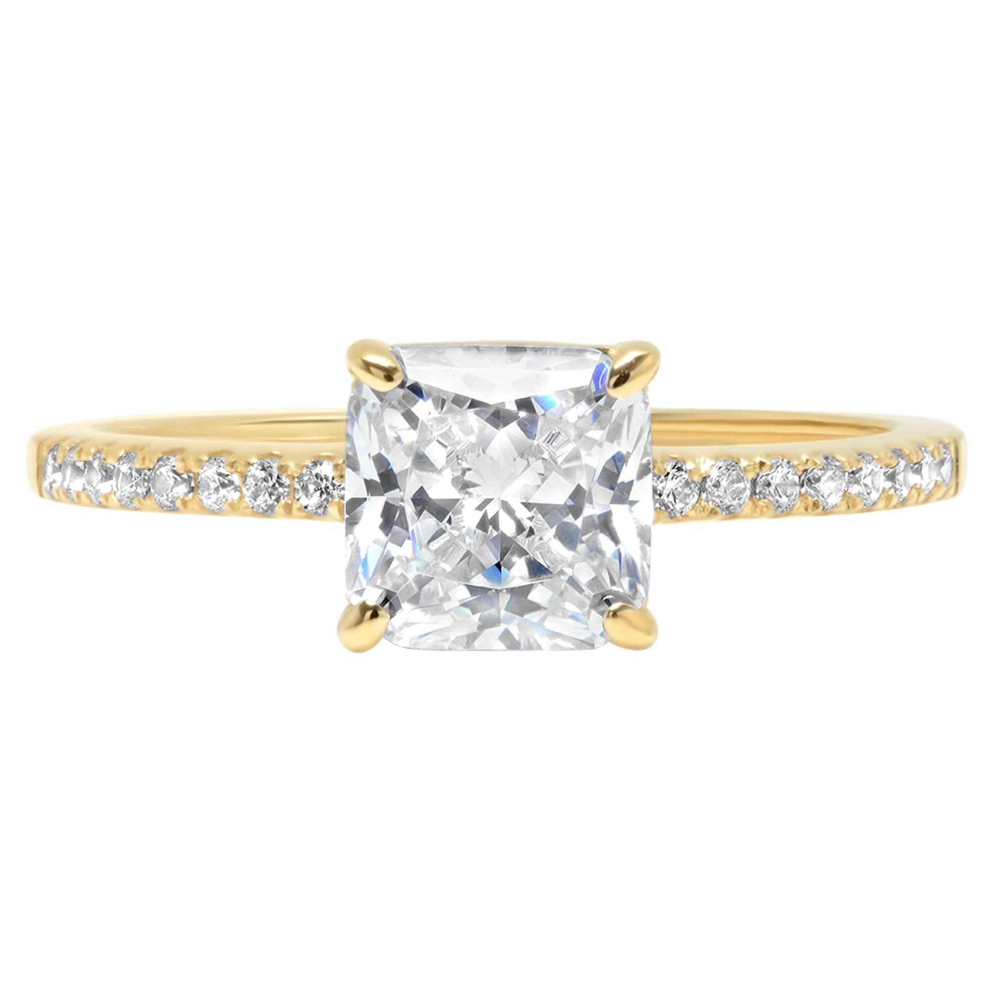 14k Yellow Gold 1.46ct Asscher Round Cut Classic Solitaire Designer Wedding Bridal Statement Anniversary Engagement Promise Accent Solitaire Ring, 5, 5