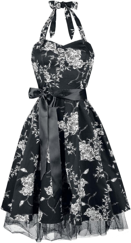 H&R London White Floral Kleid schwarz/weiß