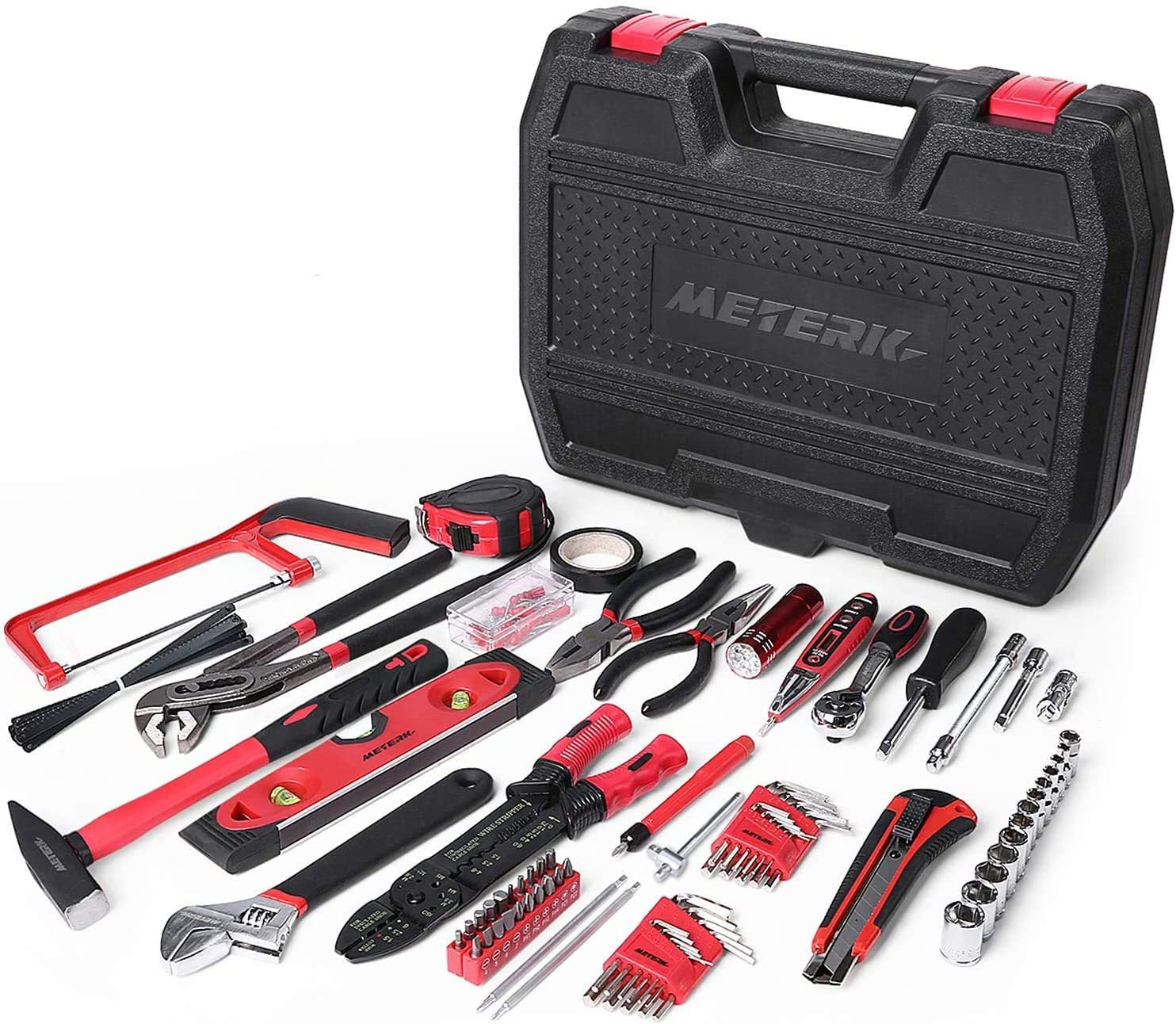 Meterk 170 Pcs Home Tool Kit- Household/Auto Repair Mechanic Tool Set with Wrenches, Screwdriver Set, Sockets Kit, Hammer, Pliers and Toolbox Storage Case for Homeowner, DIYER, Handyman…