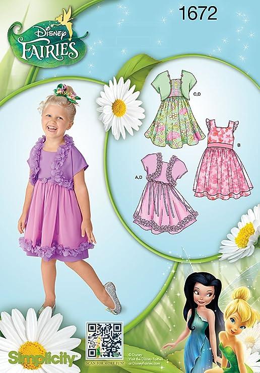Simplicity Schnittmuster Nr. 1672 Disney-Feen &Bolero Kleid für ...