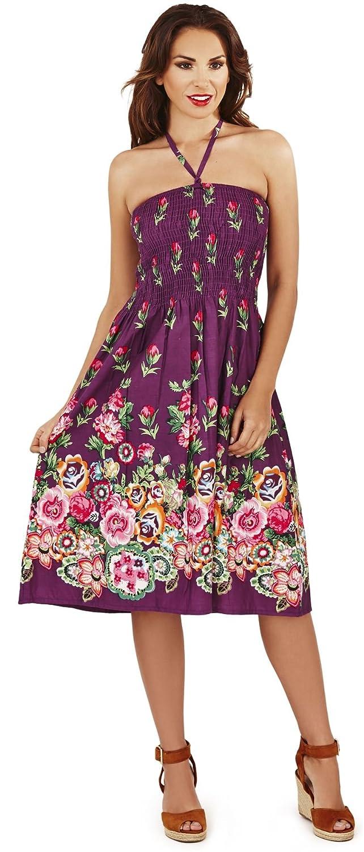 Damen Tulpe Blumenmuster 3 in 1 Sommerkleid/Maxi Rock, Lila oder schwarz