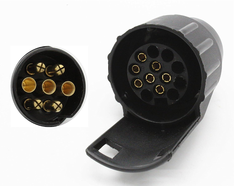 TAKPART 7 Pin to 13 Pin Plug Car Trailer Truck Caravan Adapter Converter Towing Socket 12V Black Waterproof