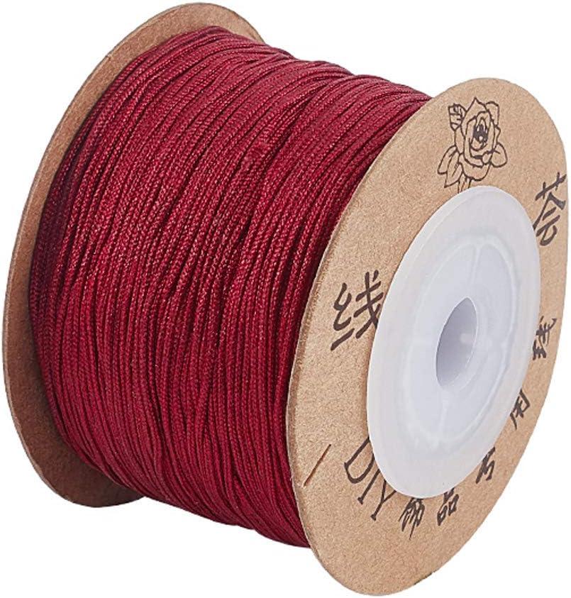 UNICRAFTALE Aproximadamente 100 m/Rollo 0.8 mm Cordón de Hilo de Nailon Cordón de Anudado Chino Hilo Rojo Oscuro Cordón de Cuentas de Hilo para Hacer Pulseras de Joyería DIY Fabricación Artesanal