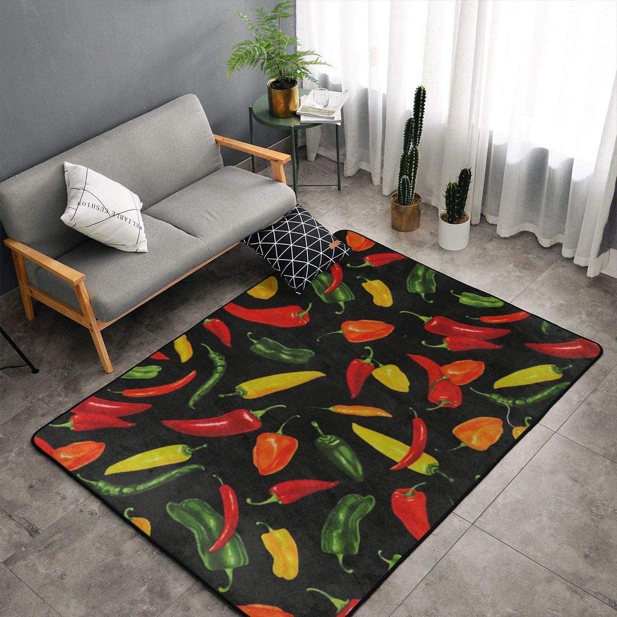 Chill Peppers Area Rugs Doormats Vintage Cute 5 x3 3 60×39 Inches Non-Slip Floor Mat Soft Carpet For Living Dining