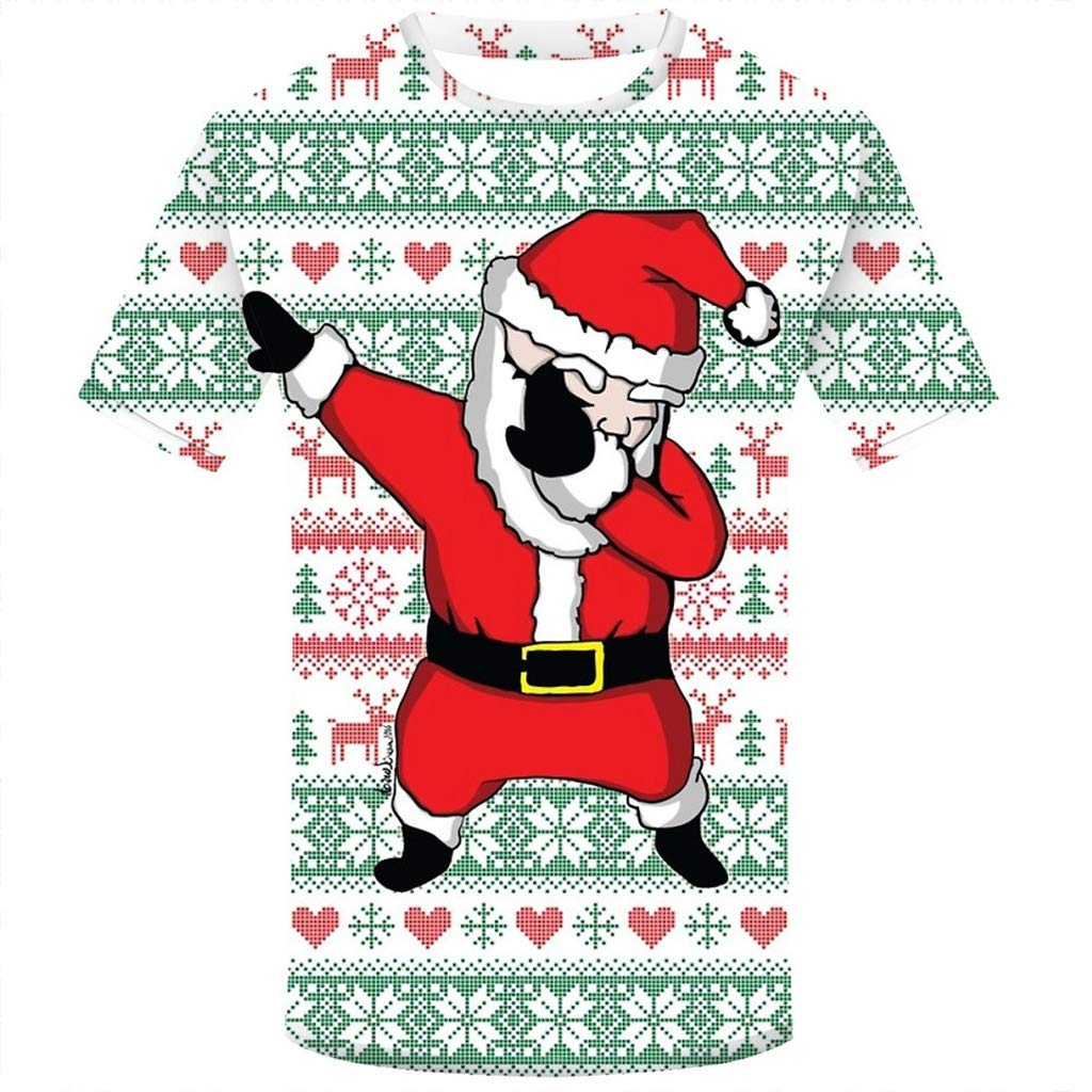 T-Shirt Natale Uomo A Maniche Lunghe Maglietta Stampa da Uomo, Slim Fit, Natale A Maniche Lunghe Inverno Maglietta Piumino da Uomo Camicie da Uomini Camicia Uomo Felpe Hoodie Qinsling