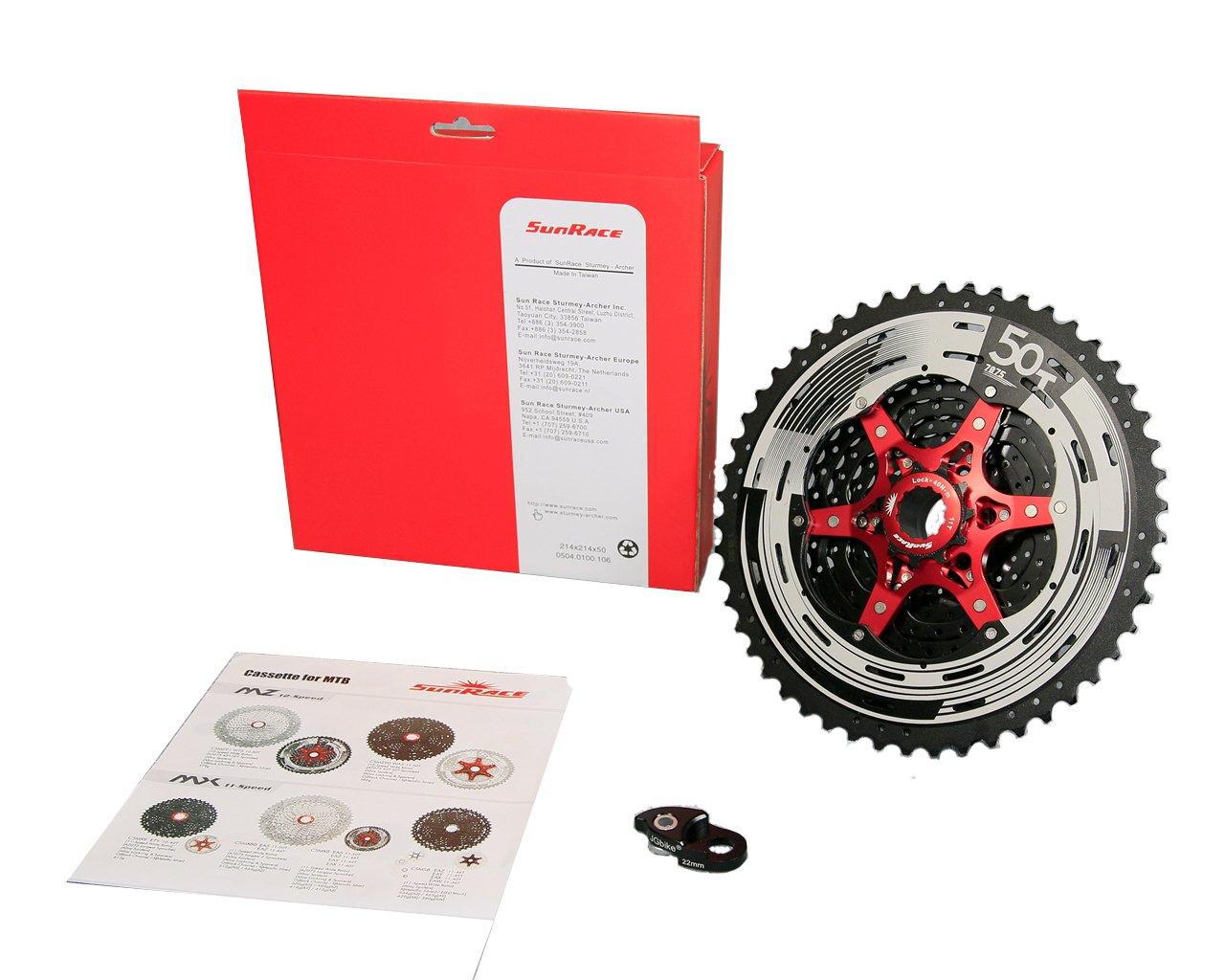 Sunrace 11-speed 11-50T CSMX80 wide ratio MTB Cassette freewheel with rear derailleur extender by JGbike (Black Chrome) by JGbike (Image #2)