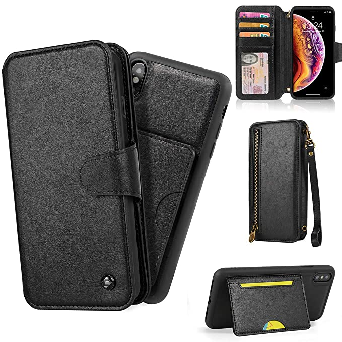 low priced a1e91 75988 CORNMI Wallet Case Compatible with iPhone Xs MAX Kickstand Leather Zipper  Flip Purse Bag with 8 Credit Card Holder & Wrist Strap & Mirror Protective  ...