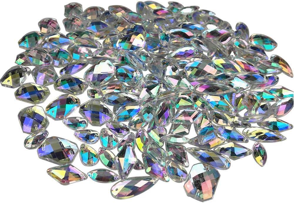 300pcs 7*15mm Horse Eye Acrylic Flatback Rhinestone Crystal AB Gems Sew-on