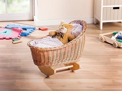 Muñecas muñecas cama con almohada y Colcha Cama Cuna de mimbre & Madera Muñecas Muebles