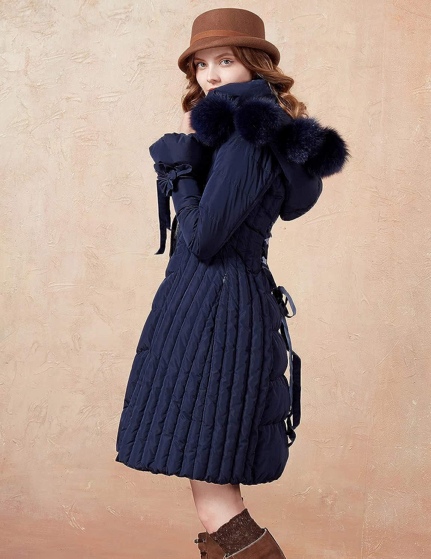 Artka Womens Detachable Fox Fur Hoodie Long Down Jacket with Pompoms Empire Waist Winter Parka Coat