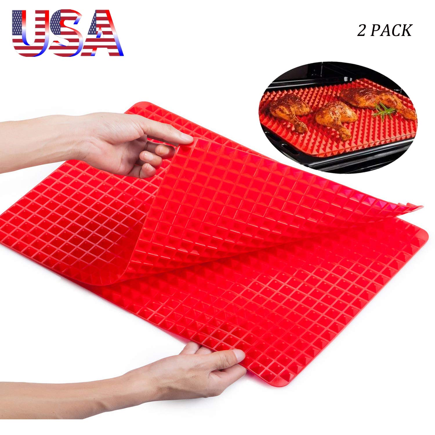 Silicone Pyramid Baking Mat Cooking Pan Value 2 Pack in 2 Sizes, Non-Stick Healthy Food Grade Fat Reducing Sheet For Oven Grilling BBQ (1Pcs&1717cm+1Pcs&39.527.5cm)