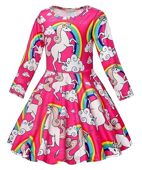 9a66c4df871f3 Amazon.com: AmzBarley Girls Unicorn Nightgown Night Dress Kids Rainbow  Sleepwear Nightie Casual Dress 2-7 Years: Clothing